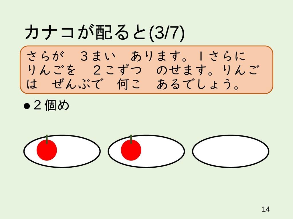 カナコが配ると(3/7) 2個め 14 さらが 3まい あります。1さらに りんごを 2こず...