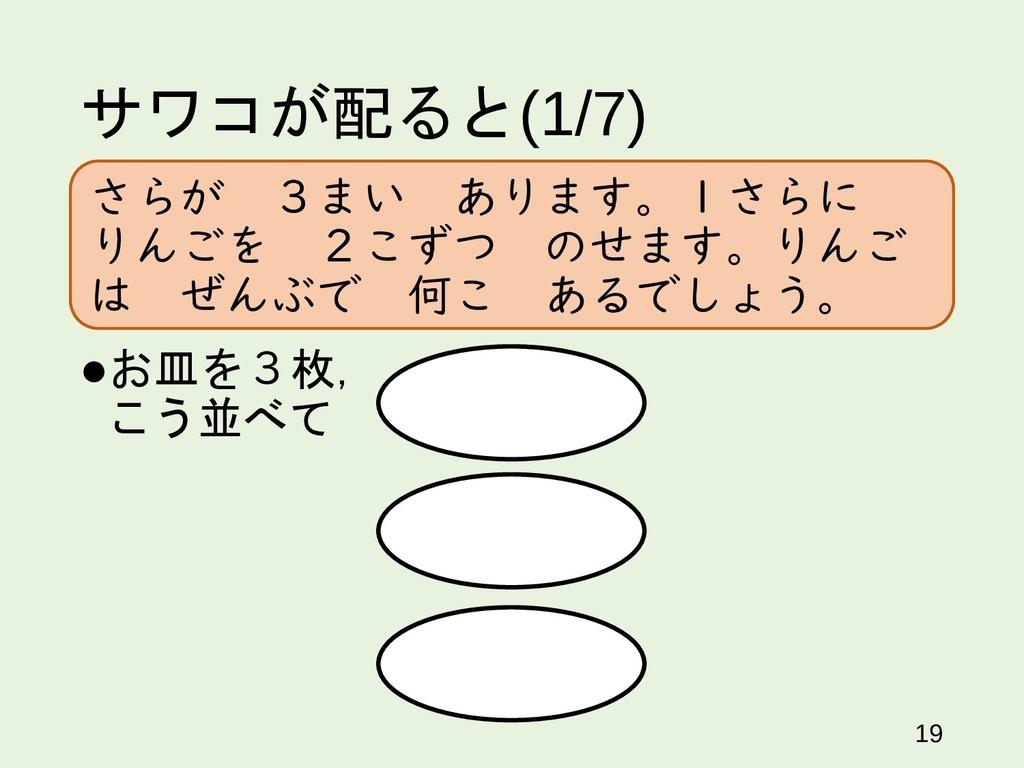 サワコが配ると(1/7) 19 お皿を3枚, こう並べて さらが 3まい あります。1さらに...