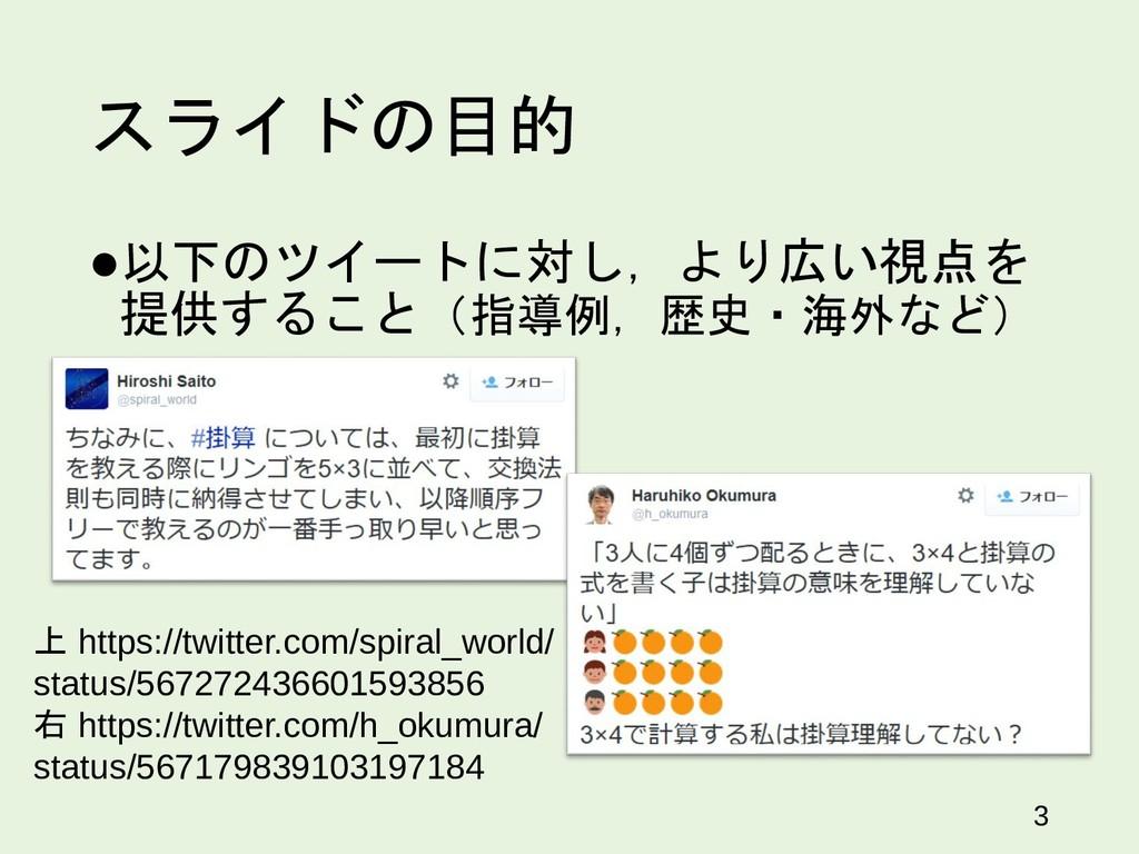 スライドの目的 以下のツイートに対し,より広い視点を 提供すること(指導例,歴史・海外など)...