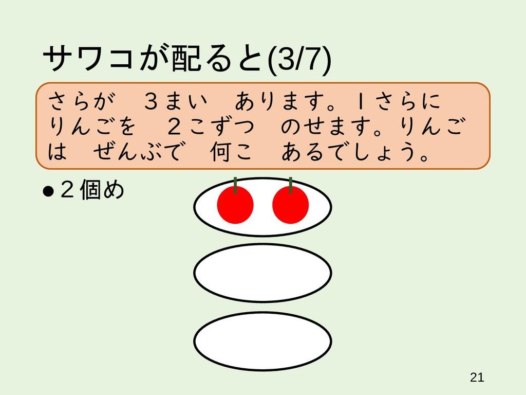 サワコが配ると(3/7) 21 2個め さらが 3まい あります。1さらに りんごを 2こず...