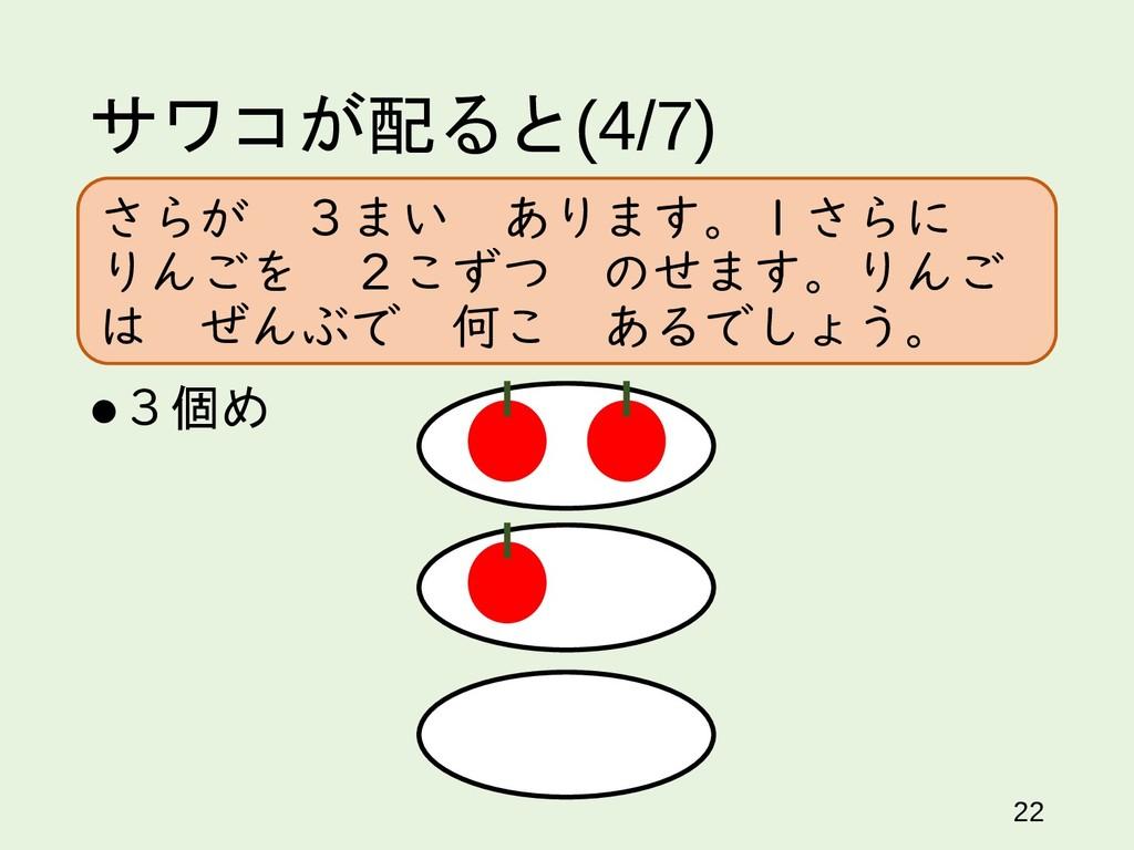 サワコが配ると(4/7) 22 3個め さらが 3まい あります。1さらに りんごを 2こず...