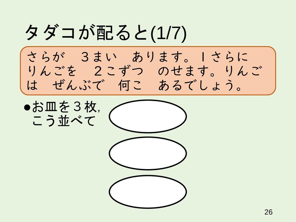 タダコが配ると(1/7) 26 お皿を3枚, こう並べて さらが 3まい あります。1さらに...
