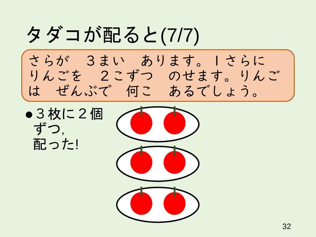 タダコが配ると(7/7) 32 3枚に2個 ずつ, 配った! さらが 3まい あります。1さ...