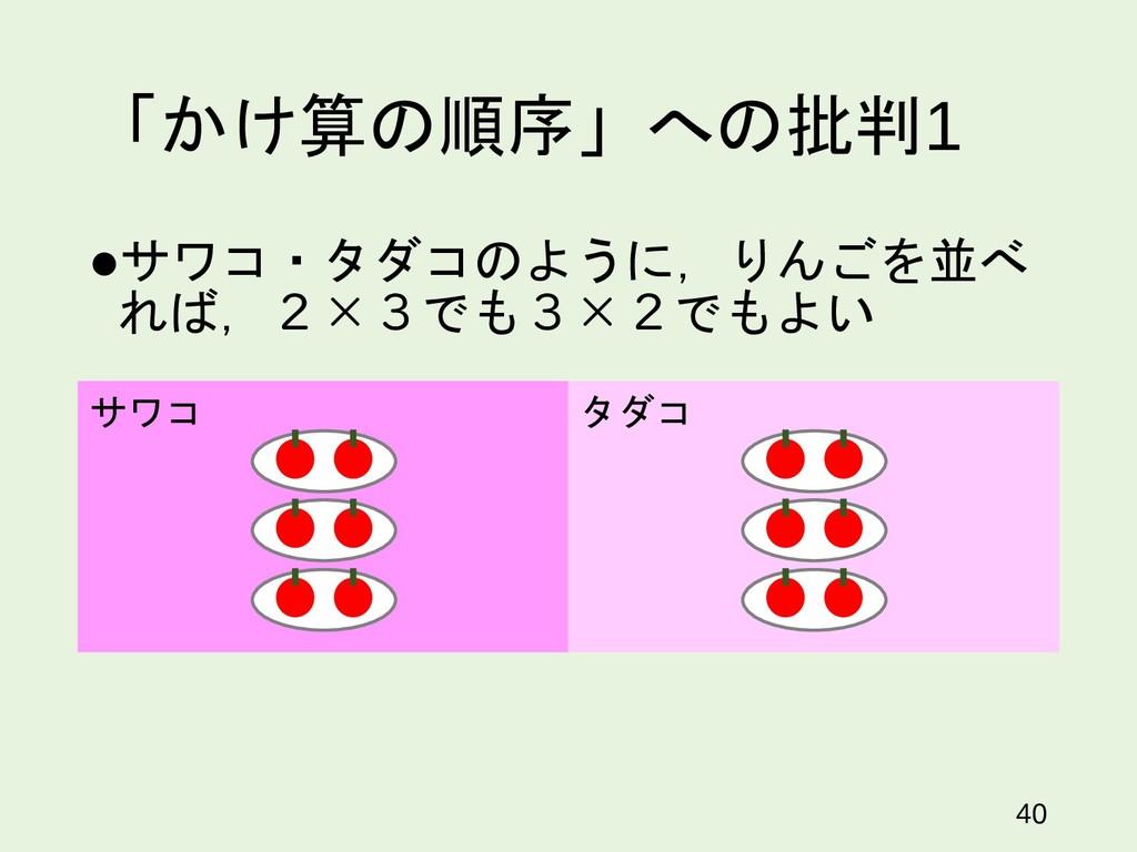 「かけ算の順序」への批判1 サワコ・タダコのように,りんごを並べ れば,2×3でも3×2でも...