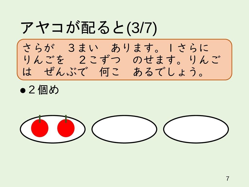 アヤコが配ると(3/7) 2個め 7 さらが 3まい あります。1さらに りんごを 2こずつ...