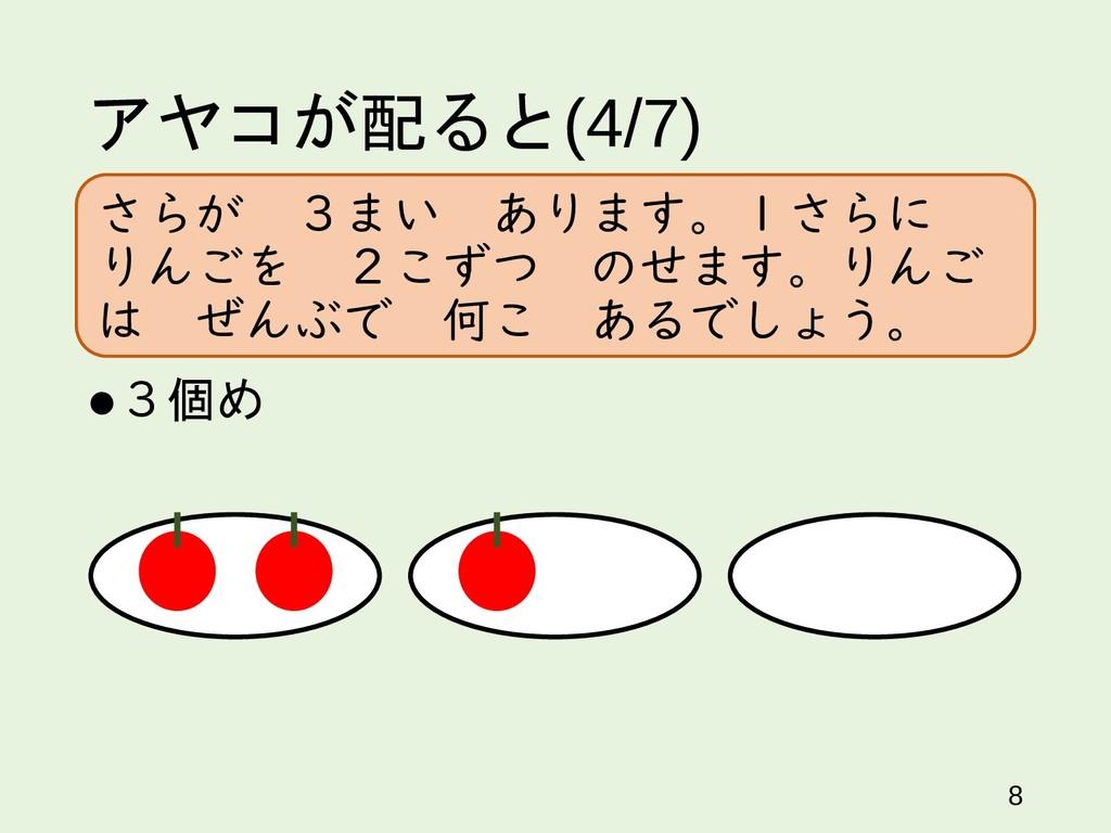 アヤコが配ると(4/7) 3個め 8 さらが 3まい あります。1さらに りんごを 2こずつ...