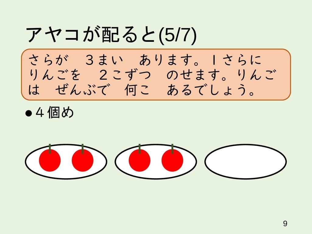 アヤコが配ると(5/7) 4個め 9 さらが 3まい あります。1さらに りんごを 2こずつ...