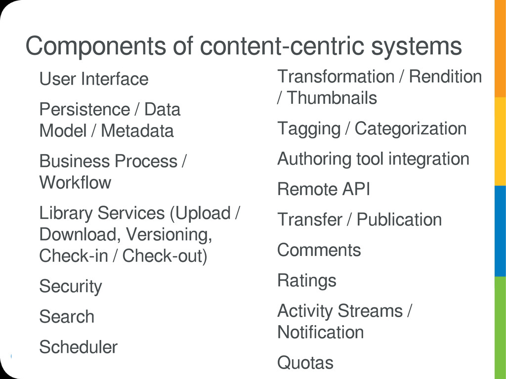 Components of content-centric systems User Inte...