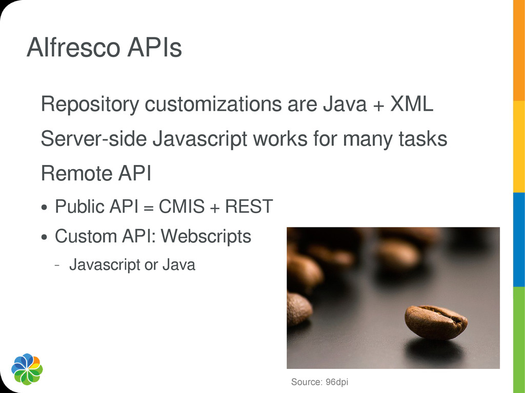Alfresco APIs Repository customizations are Jav...