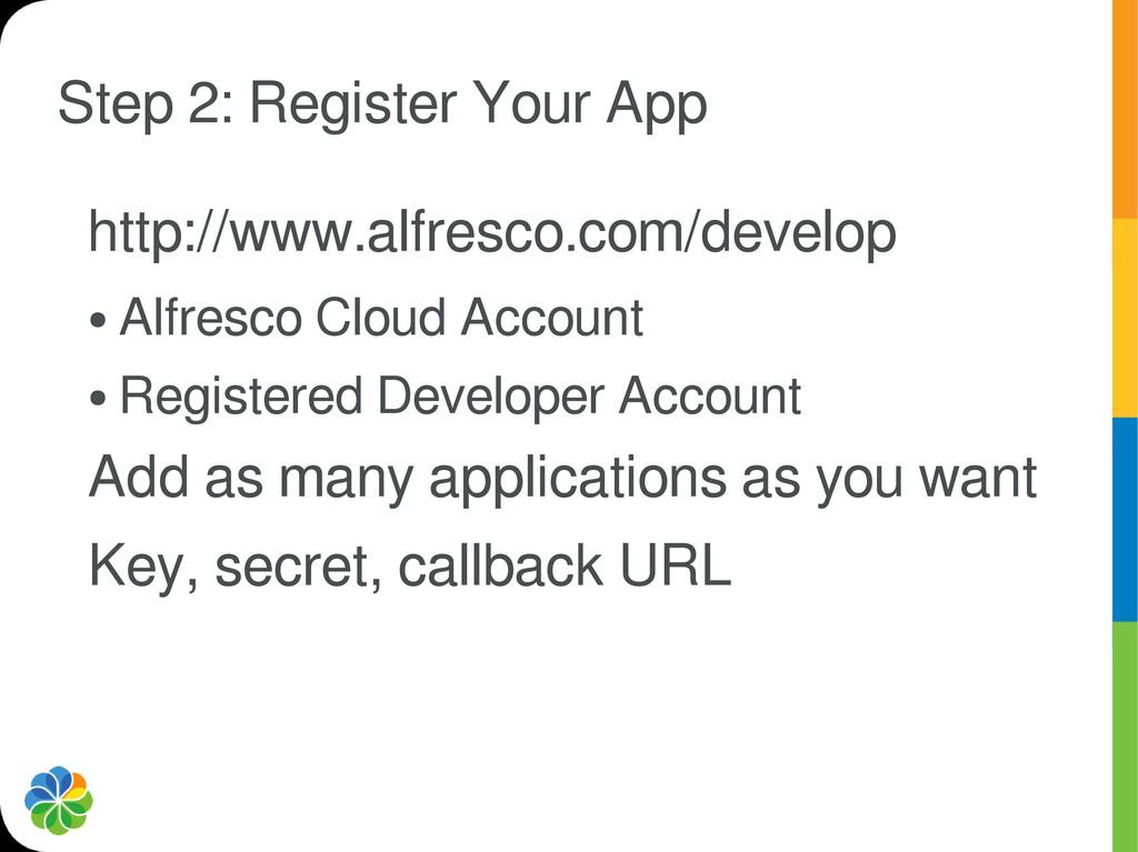 Step 2: Register Your App http://www.alfresco.c...