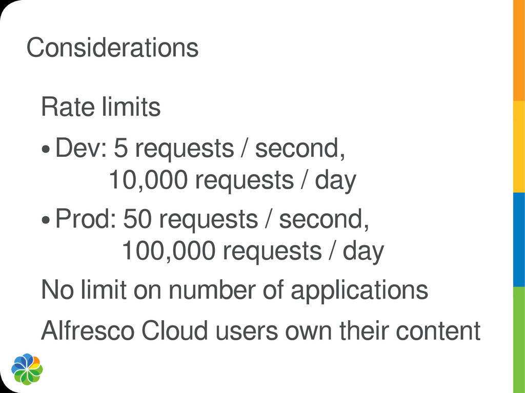 Considerations Rate limits ● Dev: 5 requests / ...