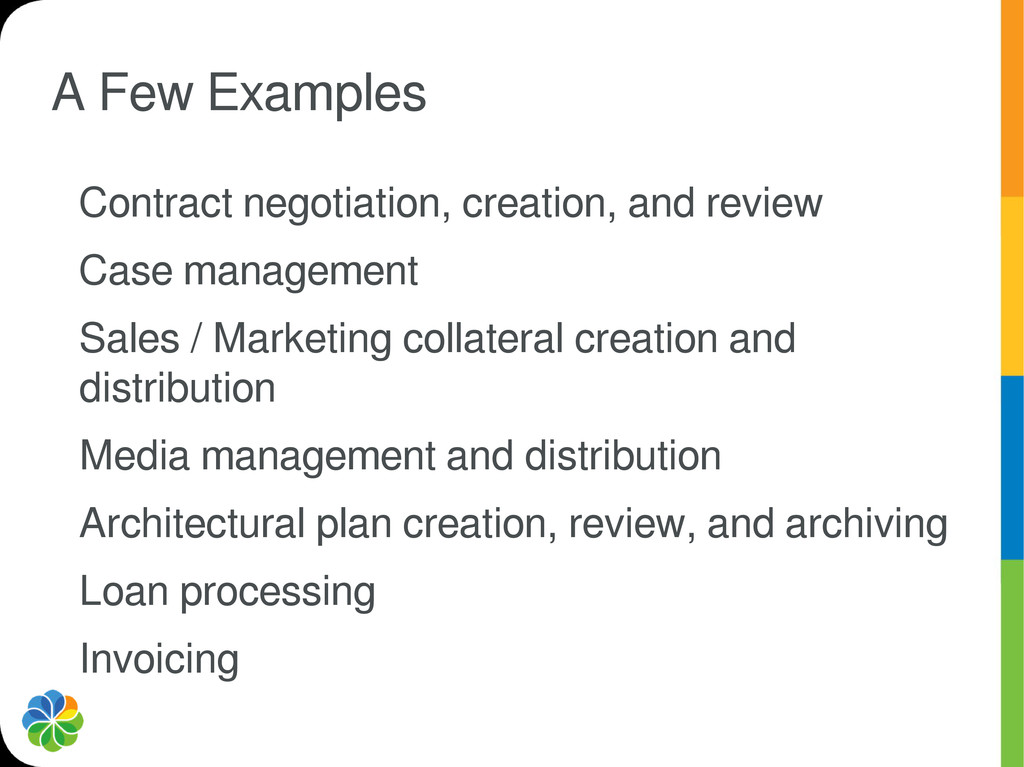 A Few Examples Contract negotiation, creation, ...