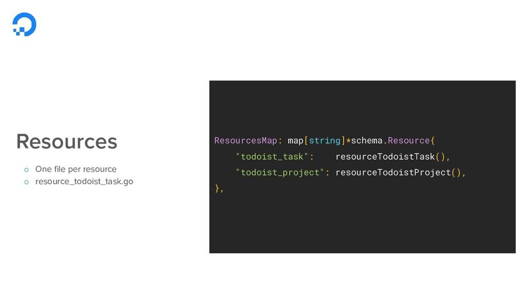 """ResourcesMap: map[string]*schema.Resource{ """"tod..."""