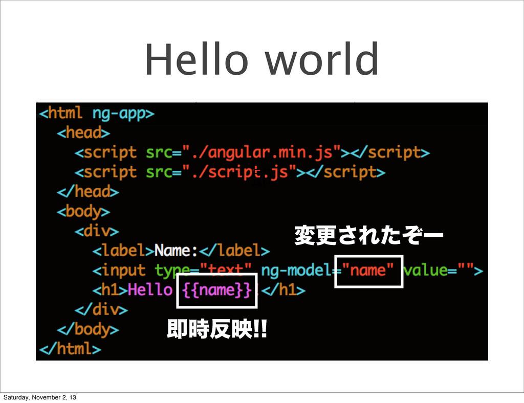 Hello world มߋ͞Εͨͧʔ ଈ ଈө Saturday, November...