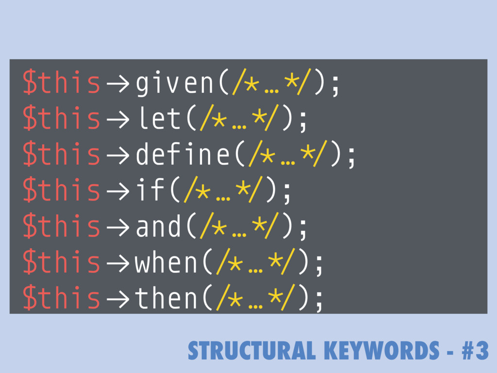 "STRUCTURAL KEYWORDS - #3 $this!""given(/*…*/); $..."