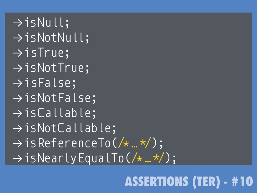 """ASSERTIONS (TER) - #10 !""""isNull; !""""isNotNull; !..."""