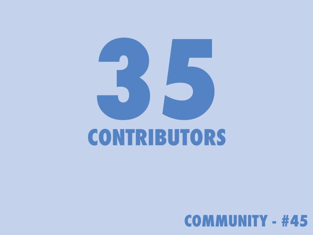 COMMUNITY - #45 35 CONTRIBUTORS