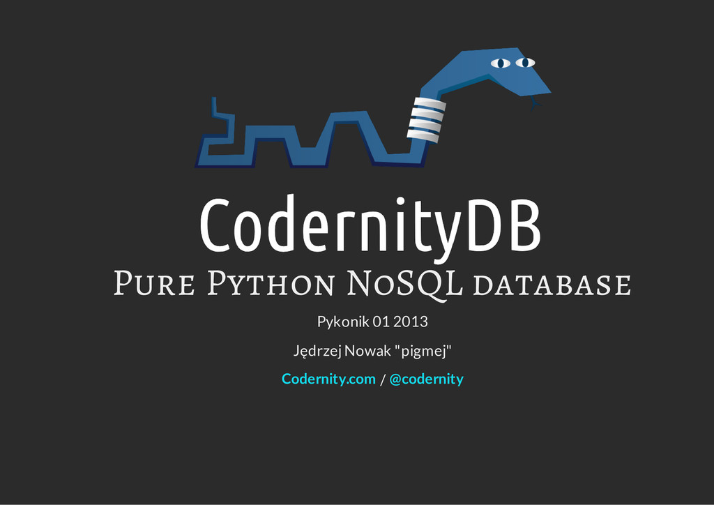 Pure Python NoSQL database Pykonik 01 2013 Jędr...