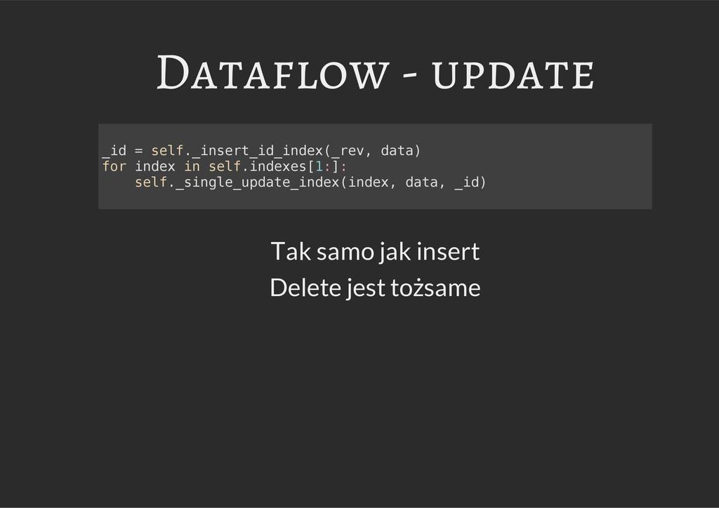 Dataflow - update Tak samo jak insert Delete je...