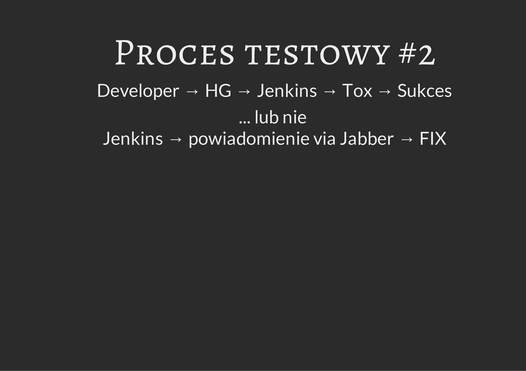 Proces testowy #2 Developer → HG → Jenkins → To...