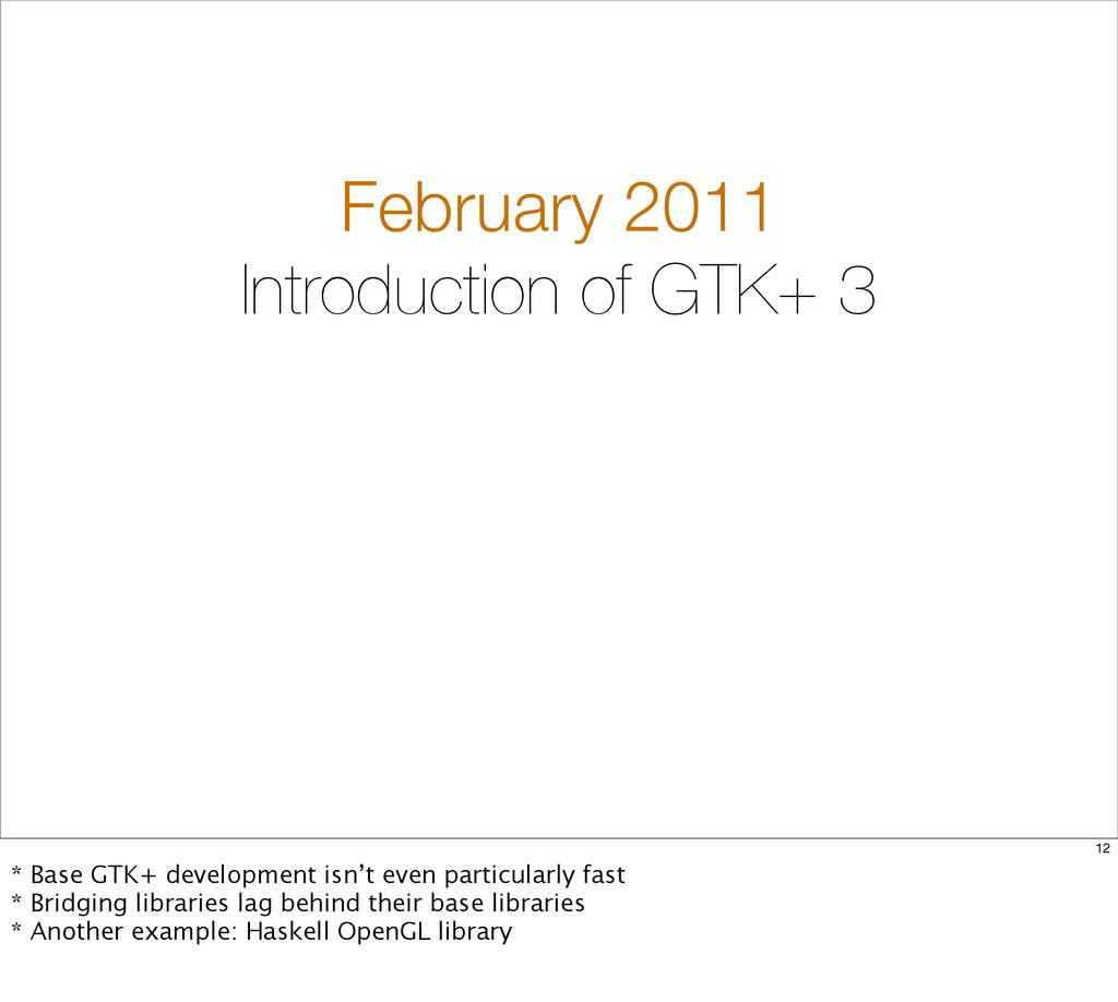 February 2011 Introduction of GTK+ 3 12 * Base ...