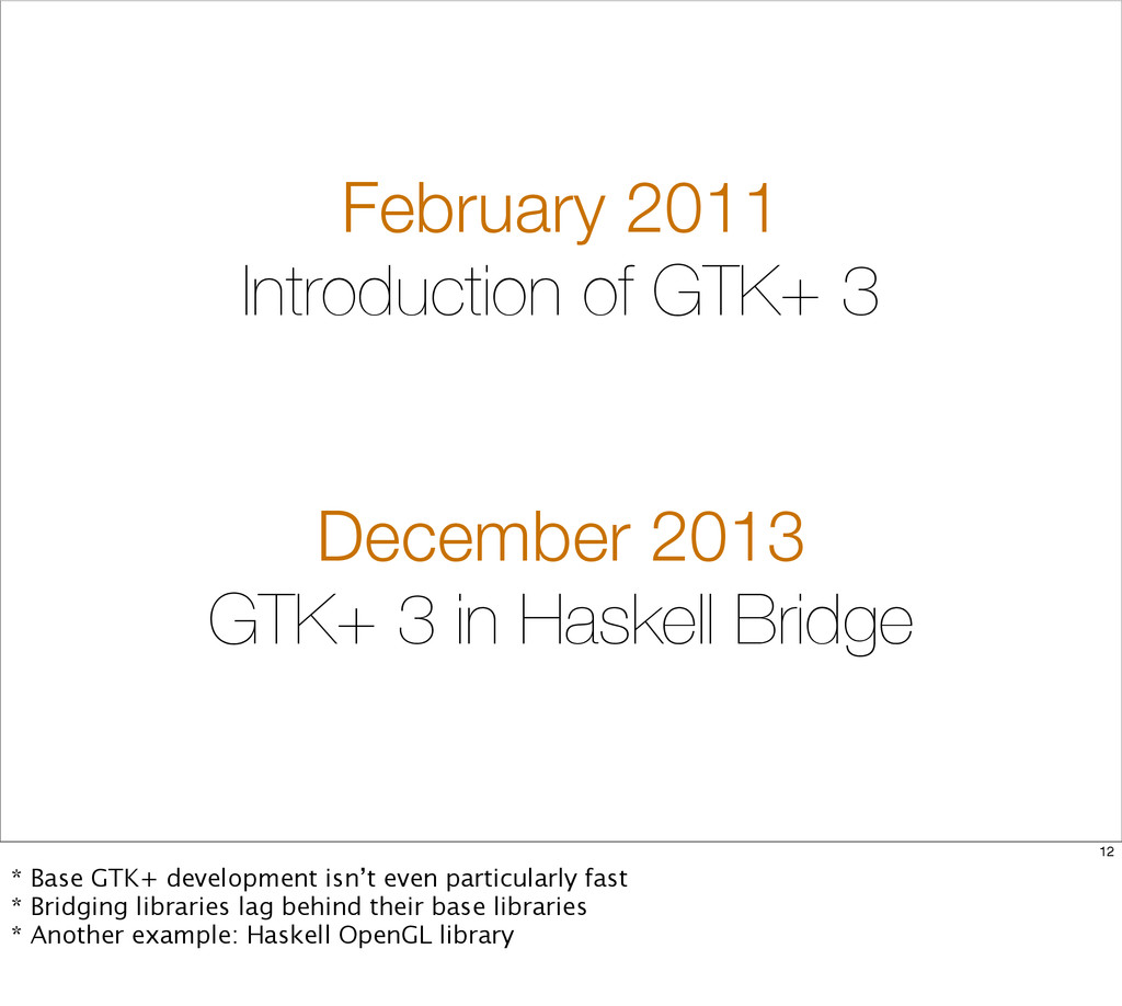 February 2011 Introduction of GTK+ 3 December 2...