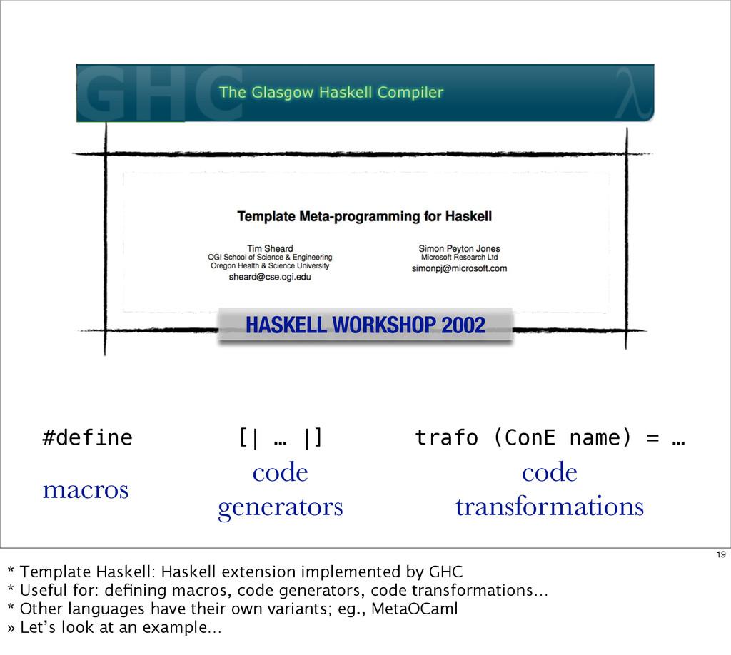 HASKELL WORKSHOP 2002 #define macros [| … |] co...
