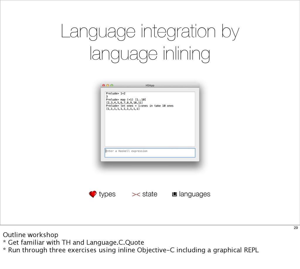 Language integration by language inlining types...