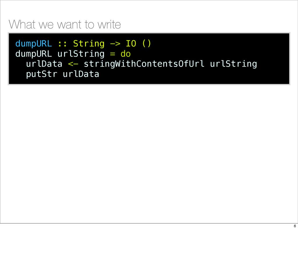 dumpURL :: String -> IO () dumpURL urlString = ...