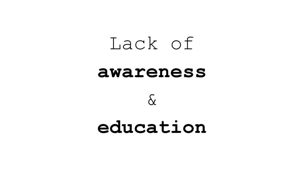 Lack of awareness & education