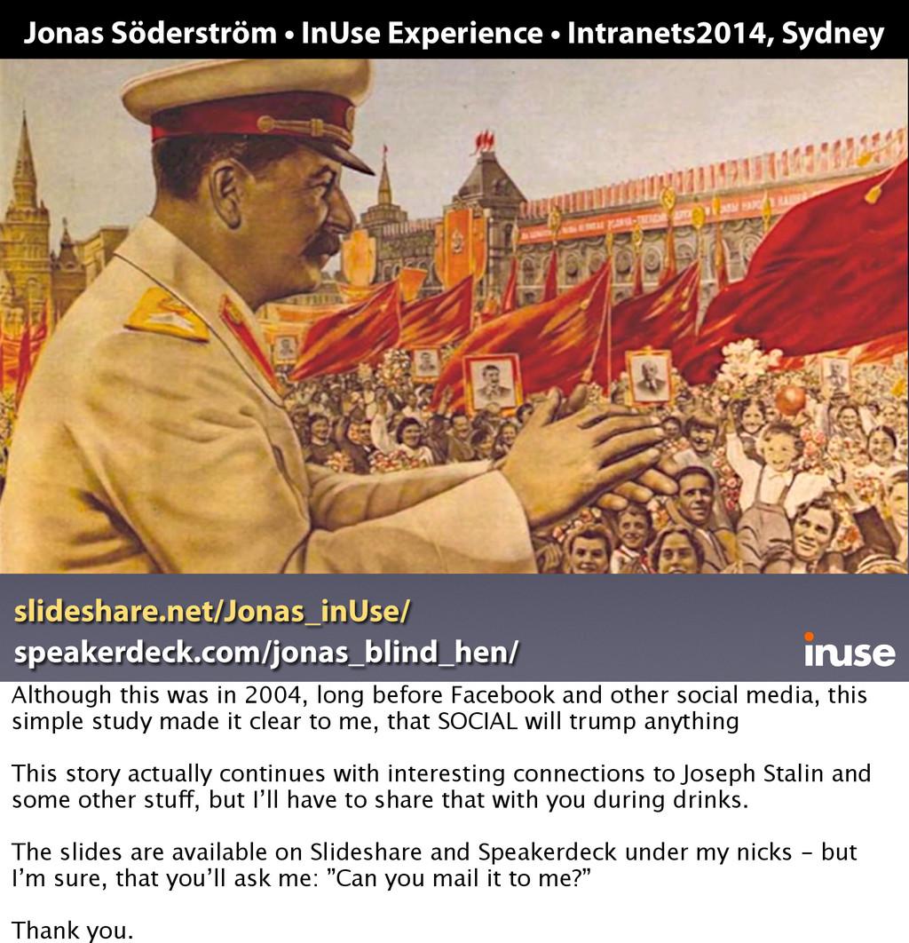 Jonas Söderström • InUse Experience • Intranets...