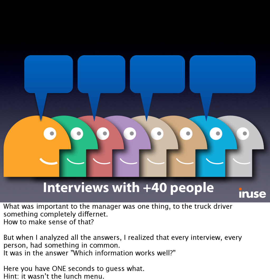 Interviews with +40 people What was important t...