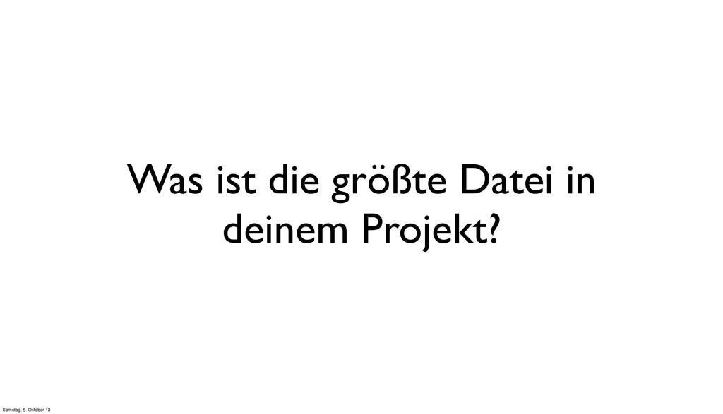 Was ist die größte Datei in deinem Projekt? Sam...