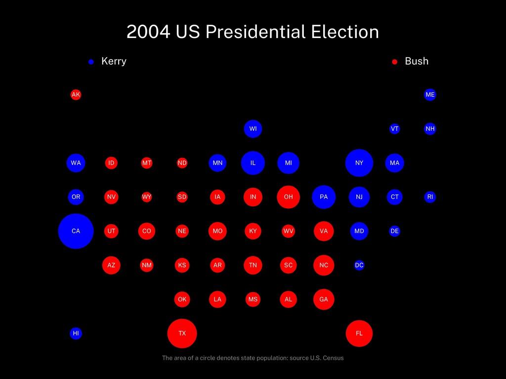 2004 US Presidential Election Kerry Bush AL AK ...
