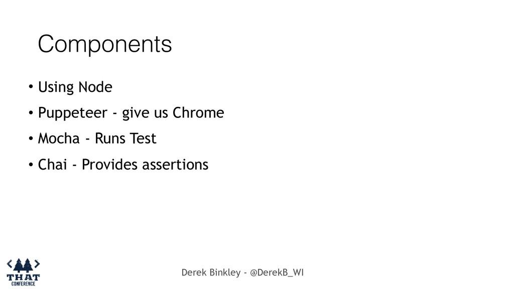 Derek Binkley - @DerekB_WI Components • Using N...