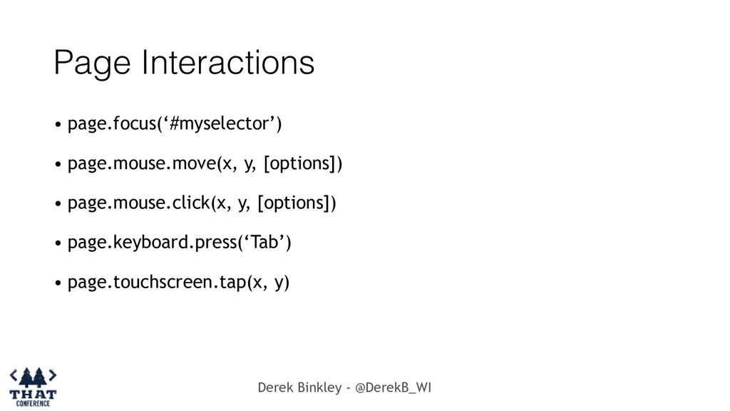 Derek Binkley - @DerekB_WI Page Interactions • ...