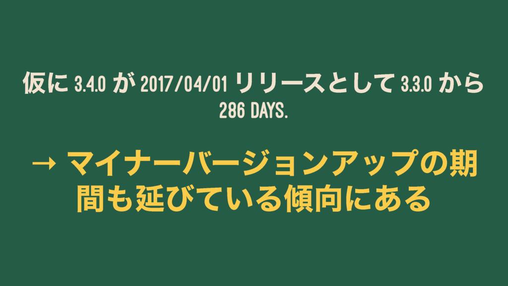 Ծʹ 3.4.0 ͕ 2017/04/01 ϦϦʔεͱͯ͠ 3.3.0 ͔Β 286 days...