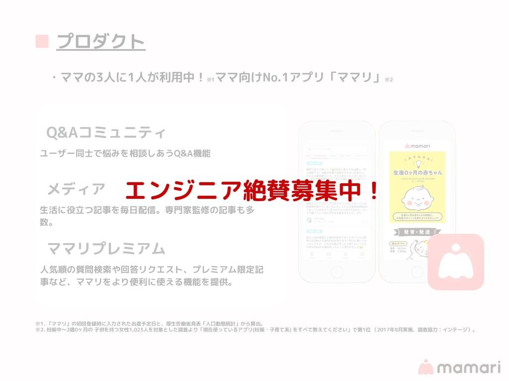 ■ プロダクト ・ママの3人に1人が利用中! ※1 ママ向けNo.1アプリ「ママリ」 ※2 ※...