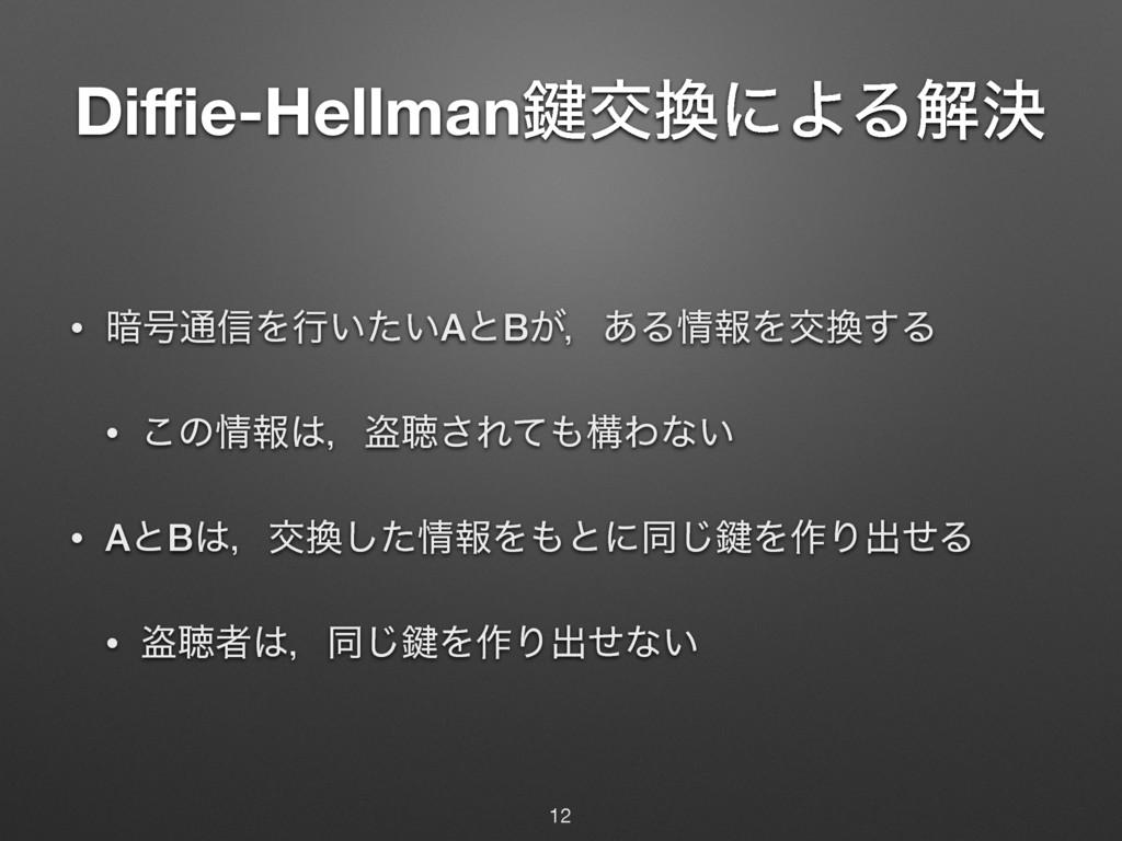 Diffie-Hellman伴ަʹΑΔղܾ • ҉߸௨৴Λߦ͍͍ͨAͱB͕ɼ͋ΔใΛަ͢Δ ...