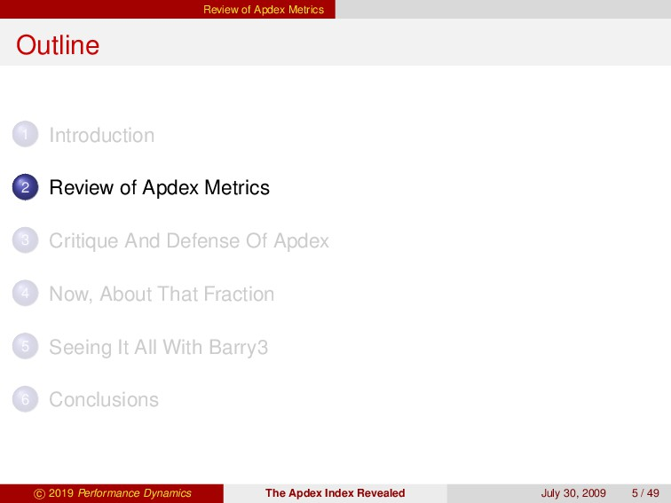 Review of Apdex Metrics Outline 1 Introduction ...