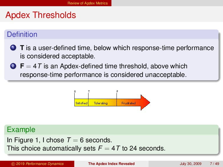 Review of Apdex Metrics Apdex Thresholds Definit...