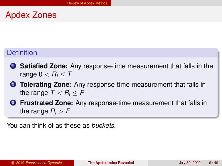 Review of Apdex Metrics Apdex Zones Definition 1...