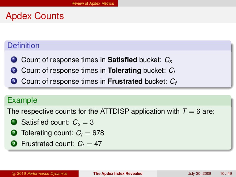Review of Apdex Metrics Apdex Counts Definition ...