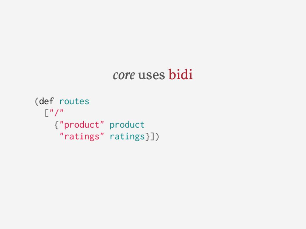 "core uses bidi (def routes [""/"" {""product"" prod..."