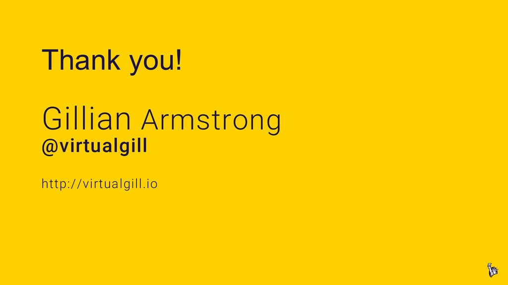 Thank you! Gillian Armstrong @virtualgill http:...