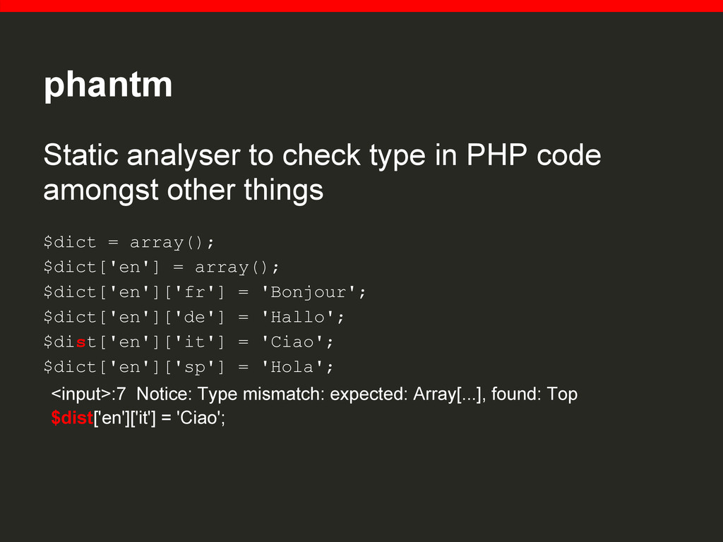 phantm Static analyser to check type in PHP cod...