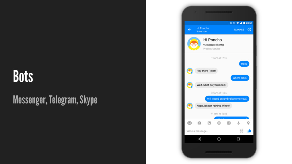 Bots Messenger, Telegram, Skype