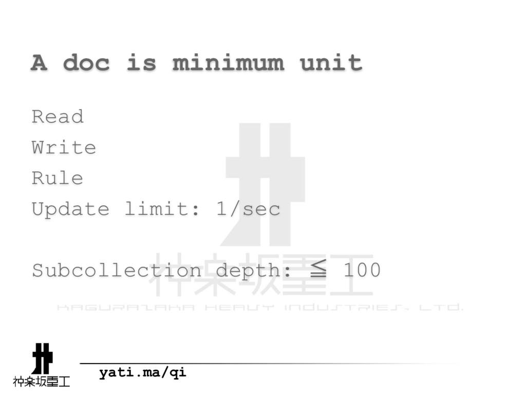 yati.ma/qi A doc is minimum unit Read Write Rul...