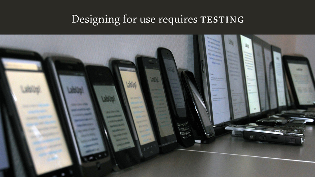 Designing for use requires TESTING