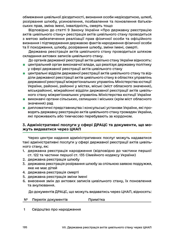195 VII. Державна реєстрація актів цивільного с...
